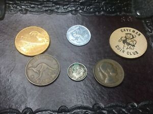 MIXED LOT COLLECTION OF 6 WORLD COINS AND TOKENS