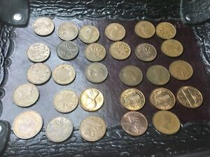 MIXED LOT COLLECTION OF 29 COINS 1955 THREE MILLS USA AND CANADA 1 CENT PENNIES