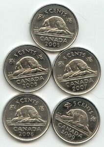 CANADA 2005 2006 2007 2008 & 2009 NICKELS 5C FIVE CENT PIECES  EXACT  SET