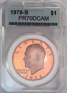 Click now to see the BUY IT NOW Price! 1978 S EISENHOWER DOLLAR IKE GSAC PR70 DCAM VIBRANT ORANGE COLOR COIN DOLLAR