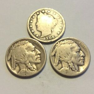 LOT OF 6 NICKELS 1902 1906 1920 1923 1929 S 1936  I 671