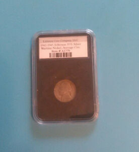 1943 SILVER 35  WARTIME JEFFERSON NICKEL IN LITTLETON SLAB