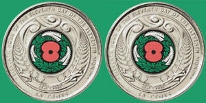 NEW ZEALAND   ARMISTICE DAY 50 CENT COIN X 2  UNC   JUST RELEASED