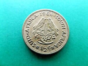 SOUTH AFRICA 1964 LARGE HALF   1/2   CENT