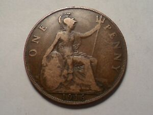 1916 NICE LARGE ONE PENNY GREAT BRITAIN COPPER MINTAGE 86 411 000