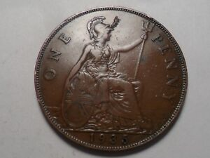 1935 NICE GREAT BRITAIN BRONZE ONE PENNY MINTAGE 53 070 000