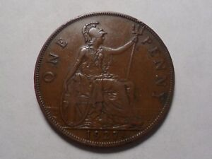 1927 NICE LARGE ONE PENNY GREAT BRITAIN COPPER MINTAGE 60 990 000