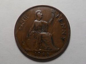 1946 NICE GREAT BRITAIN BRONZE ONE PENNY MINTAGE 66 855 999