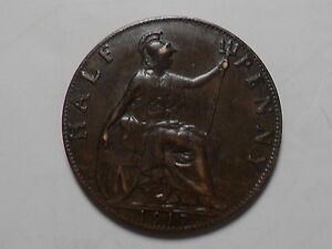 1917 NICE GREAT BRITAIN BRONZE HALF PENNY MINTAGE 38 245 000