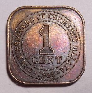 1939 STRAITS SETTLEMENT MALAYSIA 1 CENT COIN RAINBOW TONING SCRATCHES