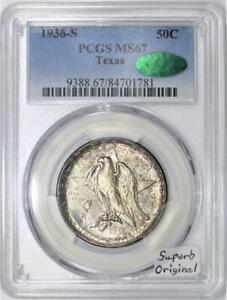Click now to see the BUY IT NOW Price! 1936 S TEXAS COMMEMORATIVE HALF DOLLAR PCGS & CAC MS 67; SUPERB ORIGINAL