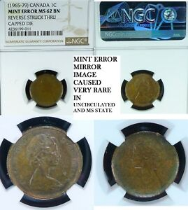 Click now to see the BUY IT NOW Price! MINT ERROR NGC MS62 REVERSE STRUCK THRU CAPPED DIE  CANADA  CENT 1965 79