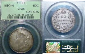 Click now to see the BUY IT NOW Price! VERY  1890 H CANADA 50 CENTS PCGS 35