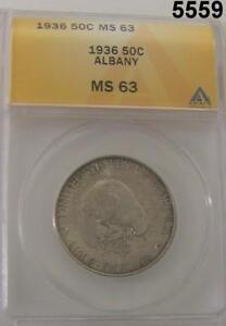 1936 ALBANY COMMEMORATIVE HALF DOLLAR ANACS CERTIFIED MS63 PALE GOLDEN  5559