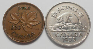 1938 SMALL CENT 1938 FIVE CENTS F VF KEY DATE GEORGE VI CANADA PENNY/NICKEL LOT