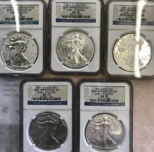 2011 EARLY RELEASES SILVER EAGLE 25TH ANNIVERSARY SET 5 COIN NGC MS70 PF70