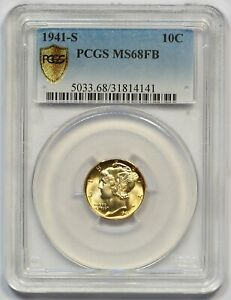 Click now to see the BUY IT NOW Price! 1941 S PCGS MS 68 FB MERCURY DIME  WARM GOLDEN TONING  FULLY STRUCK  LOW POP 12