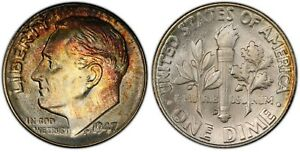 Click now to see the BUY IT NOW Price! 1947 D PCGS MS 67 FB QA ROOSEVELT DIME  COLORED TONING  FRESH BOOMING LUSTER  PQ