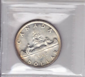 Click now to see the BUY IT NOW Price! 1957 ICCS MS64 $1 1 WATERLINE WL CANADA ONE DOLLAR SILVER