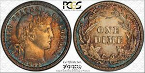 1903 10C BARBER DIME PCGS MS63 36313539 BEAUTIFULLY TONED W/ TRUEVIEW