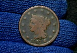 1843 LARGE CENT  PETITE HEAD  LARGE LETTERS  GOOD  VERY  N 4