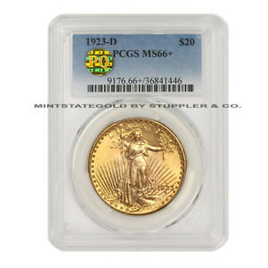 1923 D $20 SAINT GAUDENS PCGS MS66  GEM GRADED PQ APPROVED GOLD DOUBLE EAGLE