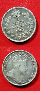 1910 CANADA SILVER 5 CENT     SOLID FINE  STK2M77