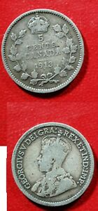 1913 CANADA SILVER 5 CENT     SOLID G/VG  STK2M75