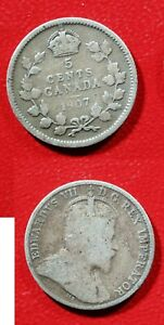 1907 CANADA SILVER 5 CENT     SOLID GOOD  STK2M81