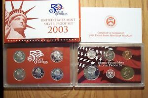 2003 S DIE CLASH ERROR 10 COIN SILVER PROOF SET WITH OGP AND COA  011