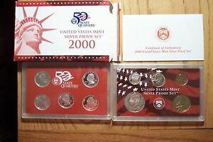 2000 S10 COIN SILVER PROOF SET W/ STATEHOOD QUARTERS COA & OGP DIE CLASH ERROR