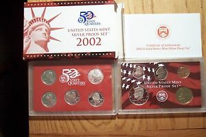 2002 S10 COIN SILVER PROOF DIE CLASH ERROR SET WITH STATEHOOD QUARTERS COA BOX 1