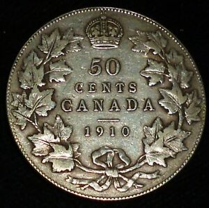 Click now to see the BUY IT NOW Price! 1910 CANADA HALF DOLLAR   50 CENTS