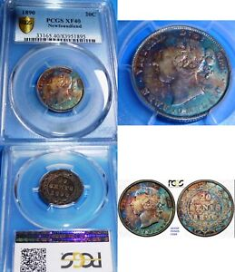 Click now to see the BUY IT NOW Price! PCGS XF 40 SILVER COIN  TONED 1890 20 CENTS NEWFOUNDLAND CANADA