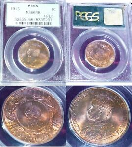 Click now to see the BUY IT NOW Price! 1913 CANADA NEWFOUNDLAND LARGE CENT MS 66 HIGHEST PCGS GRADE POPULATION 4