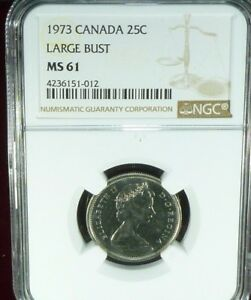 Click now to see the BUY IT NOW Price! 1973 CANADA 25 CENTS LARGE BUST NGC MS 61 UNCIRCULATED