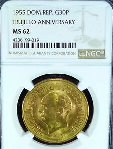 Click now to see the BUY IT NOW Price! GOLD COIN   1955 DOMINICAN. REP. 30 PESOS TRUJILLO ANNIVERSARY MS 62 NGC
