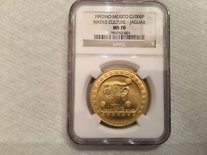 Click now to see the BUY IT NOW Price! MEXICO 1992 NATIVE CULTURE   JAGUAR $1000 1OZ  24K GOLD NGC MS70 ONLY 1 MS70