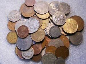 PA'S LOT OF 50 COINS OLD WORLD AND NEW FOREIGN COINS  9