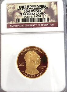 2007  MISHOLDERED ERROR NGC PROOF 69 UC $10 ABIGAIL ADAMS. M WASHINGTON LABEL