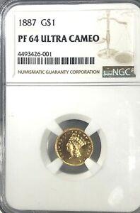 MS  64 PF U.C 1887   U.S. $1.00 GOLD INDIAN DOLLAR NGC ULTRA CAM  SEE GOLD