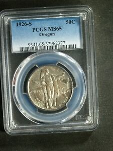 1926 S U.S. OREGON COMMEMORATIVE HALF $ SILVER   MS65  PCGS  STK2377