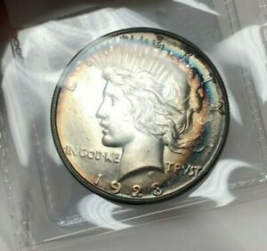 Click now to see the BUY IT NOW Price! 1923 S PEACE DOLLAR $1 SUPERB GEM BU TOUGH DATE  GORGEOUS RAINBOW TONED COIN PL