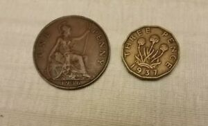 1937 GREAT BRITAIN ENGLAND UNITED KINGDOM 3 THREE PENCE AND ONE PENNY 1936
