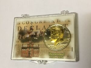1976 KENNEDY BICENTENNIAL HALF DOLLAR   GOLD LAYERED CAMEO AND INDEPENDENCE HALL