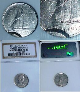 Click now to see the BUY IT NOW Price! VERY  REVERSE BROCKAGE MINT ERROR 1974  CANADA 10 CENTS  NGC MS 62