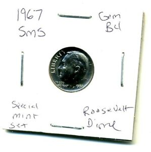 1967 P  SMS CH BU UNC ROOSEVELT DIME BRILLIANT UNCIRCULATED US 10 CENT COIN1410