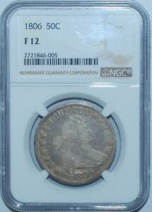 1806 NGC F12 O 120A T 28 R.4 POINTED 6 WITH STEM DRAPED BUST HALF DOLLAR