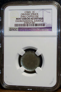 Click now to see the BUY IT NOW Price! NGC GRADED SEE IT TO BELIEVE IT 1943 STEEL CENT CAPPED DIE OBVERSE AU DETAILS