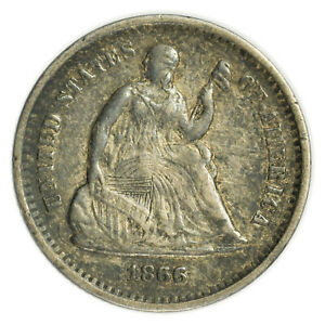 1866 S SEATED LIBERTY HALF DIME SMALL  EARLY TYPE SILVER COIN [4174.122]